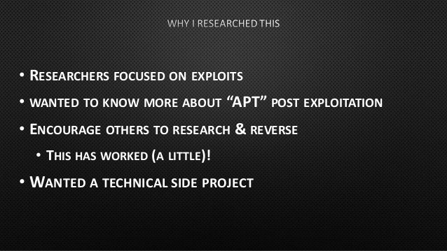 • BRIEF OVERVIEW OF DANDERSPRITZ • QUICK HISTORY OF THE FRAMEWORK(S) • GETTING TO POST-EXPLOITATION • KILLSUIT • PERSISTEN...