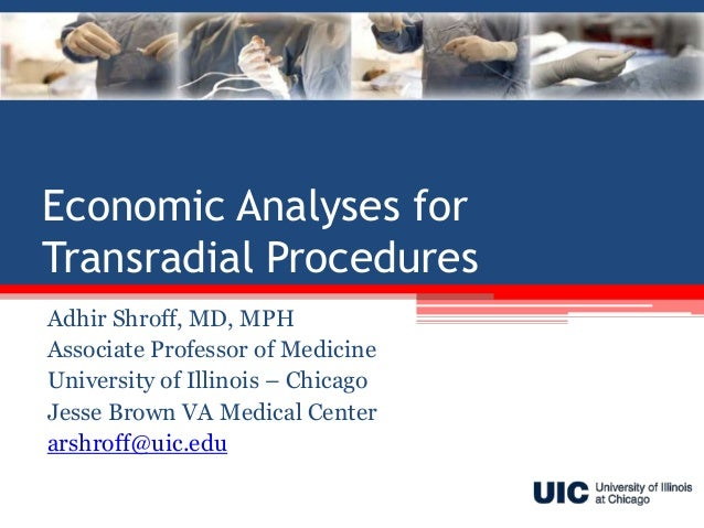 Economic Analyses for Transradial Procedures Adhir Shroff, MD, MPH Associate Professor of Medicine University of Illinois ...