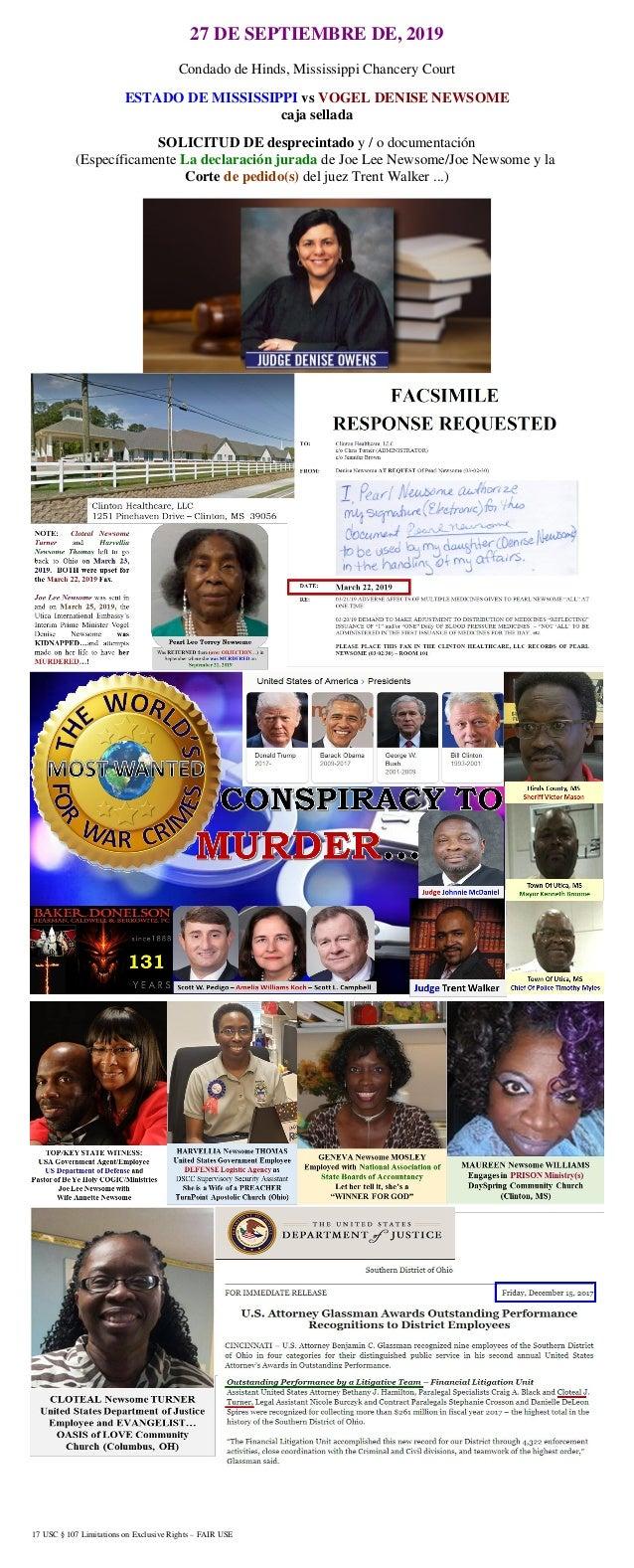 17 USC § 107 Limitations on Exclusive Rights – FAIR USE 27 DE SEPTIEMBRE DE, 2019 Condado de Hinds, Mississippi Chancery C...