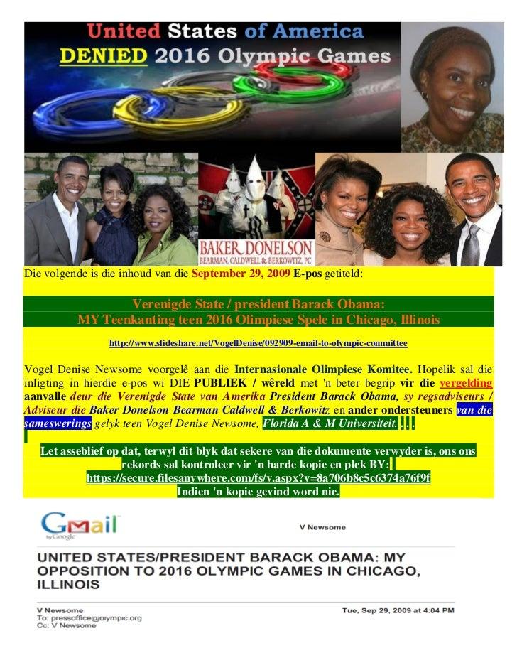 Die volgende is die inhoud van die September 29, 2009 E-pos getiteld:                 Verenigde State / president Barack O...
