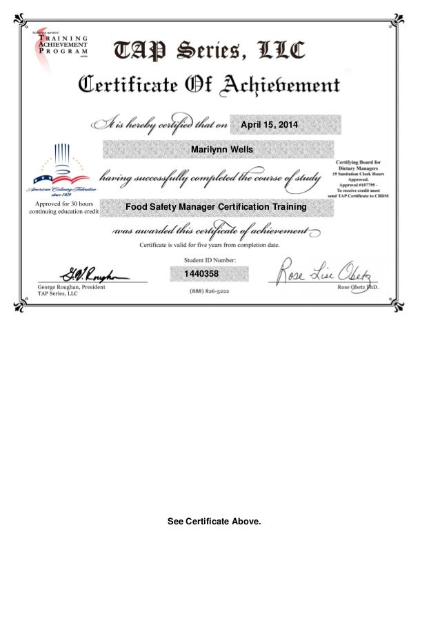 Tap Series Food Mgr Certificate