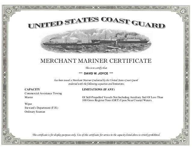 Coast Guard Certificate