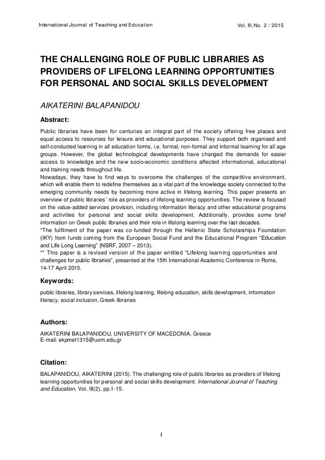 role of public libraries in society education essay 2009-10-21 essay on the importance of a library  a library is thus a help to the society most libraries have notice-boards  essay on female education.