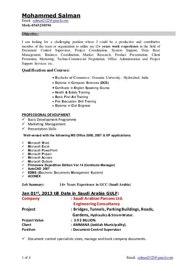 Salman Document Controller Resume