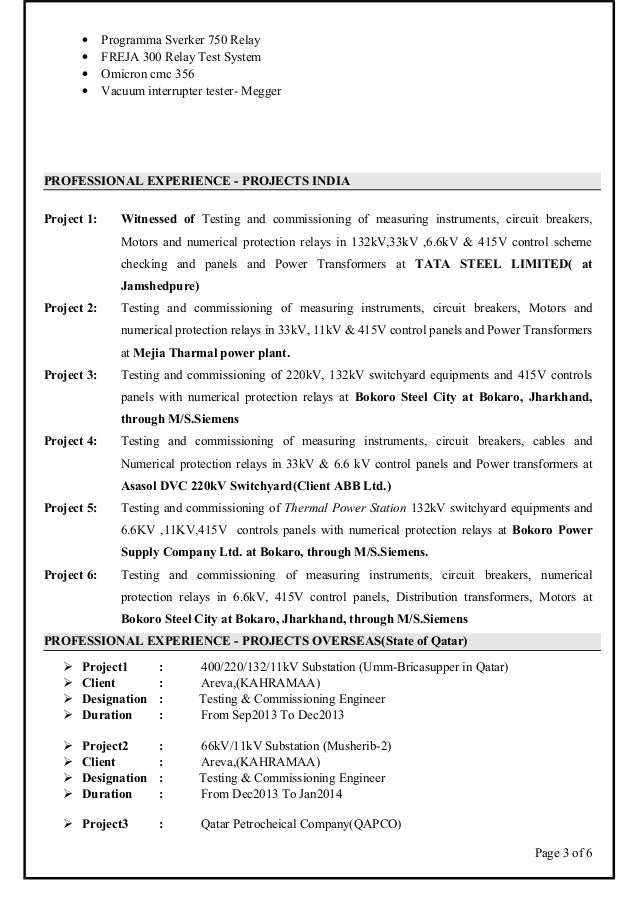 Asish CV electrical engineer testing and commissioning and maintenan