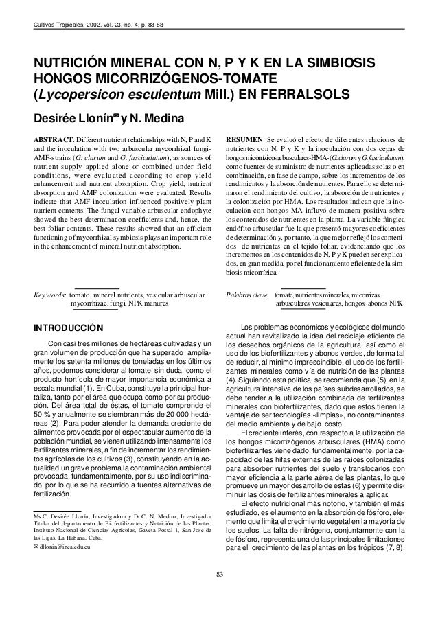 Cultivos Tropicales, 2002, vol. 23, no. 4, p. 83-88NUTRICIÓN MINERAL CON N, P Y K EN LA SIMBIOSISHONGOS MICORRIZÓGENOS-TOM...