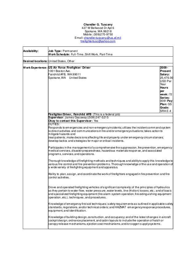 firefighter resume