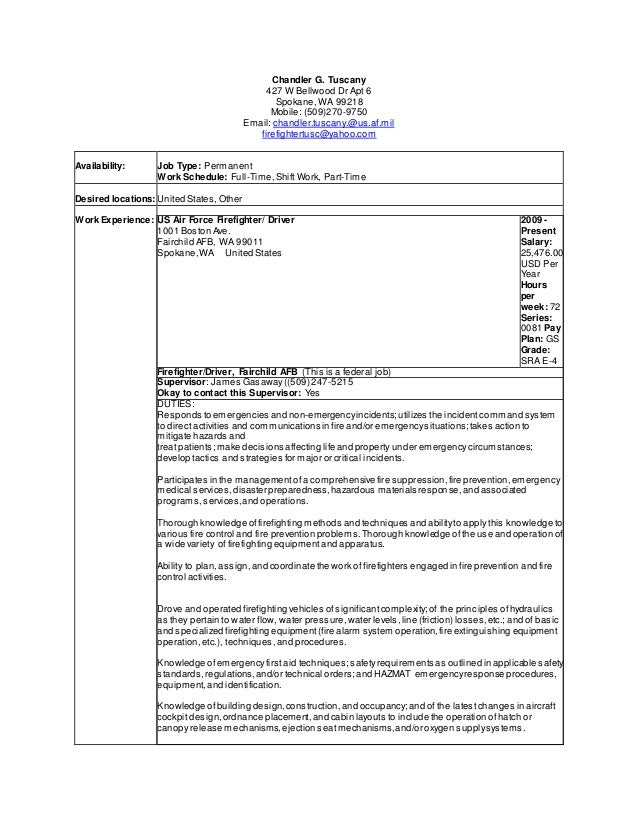 fire fighter resume