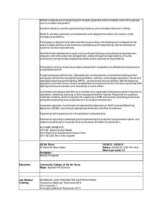 Firefighter Resume  Firefighter Job Description For Resume