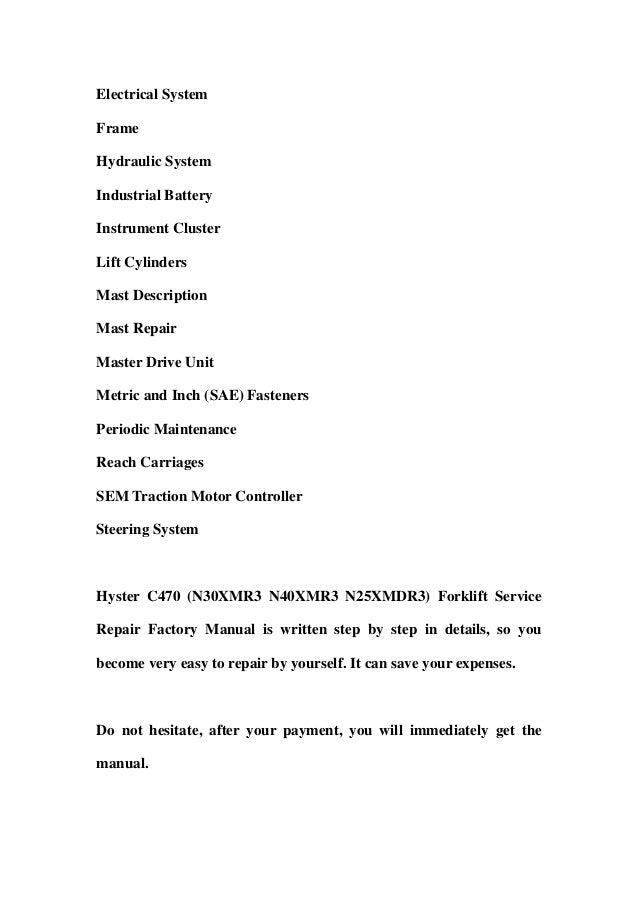hyster n25xmdr3 n30xmr3 n40xmr3 n50xma3 electric forklift service repair manual parts manual download