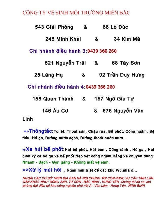 CÔNG TY VỆ SINH MÔI TRƯỜNG MIỀN BẮC 543 Giải Phóng & 66 Lò Đúc 245 Minh Khai & 34 Kim Mã Chi nhánh điều hành 3:0439 366 26...