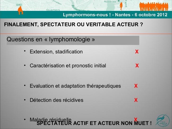 FINALEMENT, SPECTATEUR OU VERITABLE ACTEUR ?Questions en « lymphomologie »      • Extension, stadification                ...