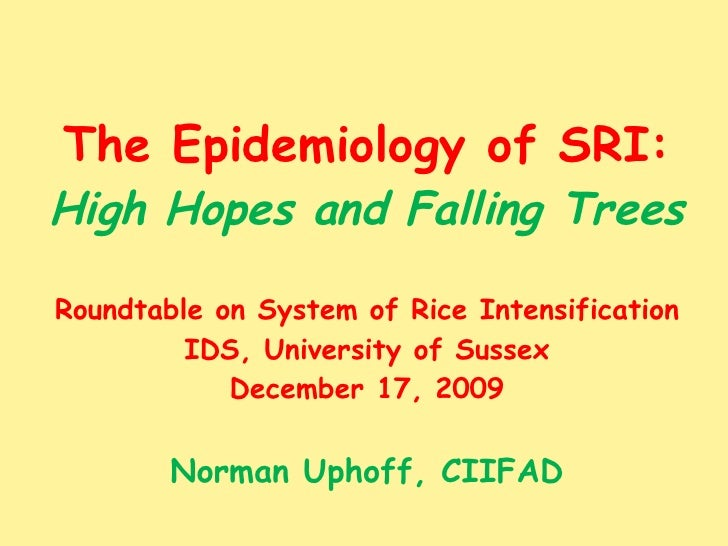 The Epidemiology of SRI: High Hopes and Falling Trees Roundtable on System of Rice Intensification IDS, University of Suss...