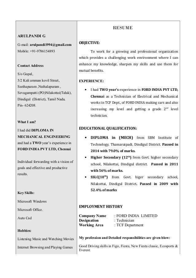 ARULPANDI Resume