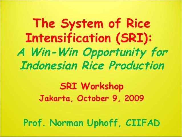 The System of Rice Intensification (SRI): A Win-Win Opportunity for Indonesian Rice Production SRI Workshop Jakarta, Octob...