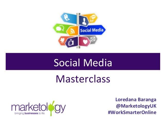 Loredana  Baranga   @MarketologyUK   #WorkSmarterOnline   Social  Media   Masterclass