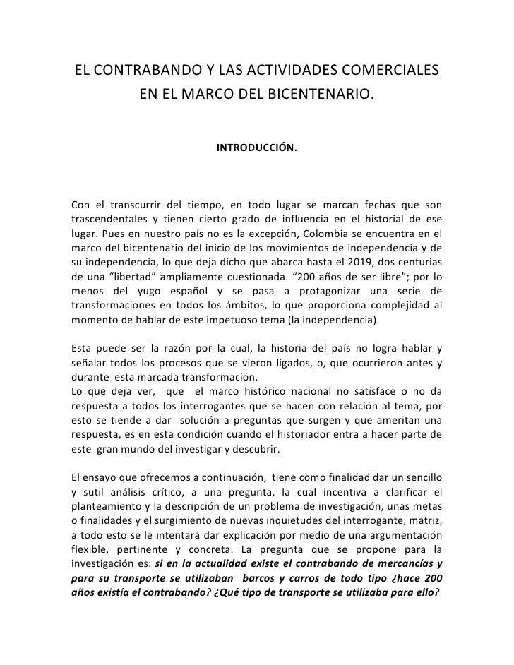 EL CONTRABANDO Y LAS ACTIVIDADES COMERCIALES EN EL MARCO DEL BICENTENARIO.<br />INTRODUCCIÓN.<br />Con el transcurrir del ...