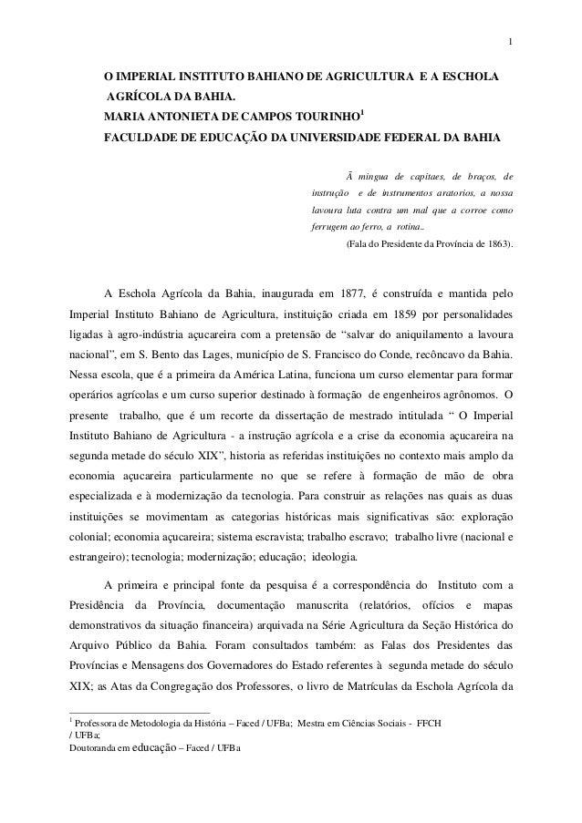 1        O IMPERIAL INSTITUTO BAHIANO DE AGRICULTURA E A ESCHOLA         AGRÍCOLA DA BAHIA.        MARIA ANTONIETA DE CAMP...