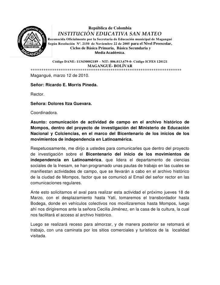 República de Colombia<br />-736600-180975INSTITUCIÓN EDUCATIVA SAN MATEO<br />Reconocida Oficialmente por la Secretaría de...