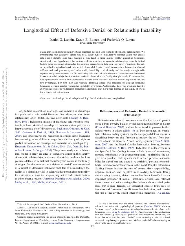 Longitudinal Effect of Defensive Denial on Relationship Instability Daniel G. Lannin, Karen E. Bittner, and Frederick O. L...