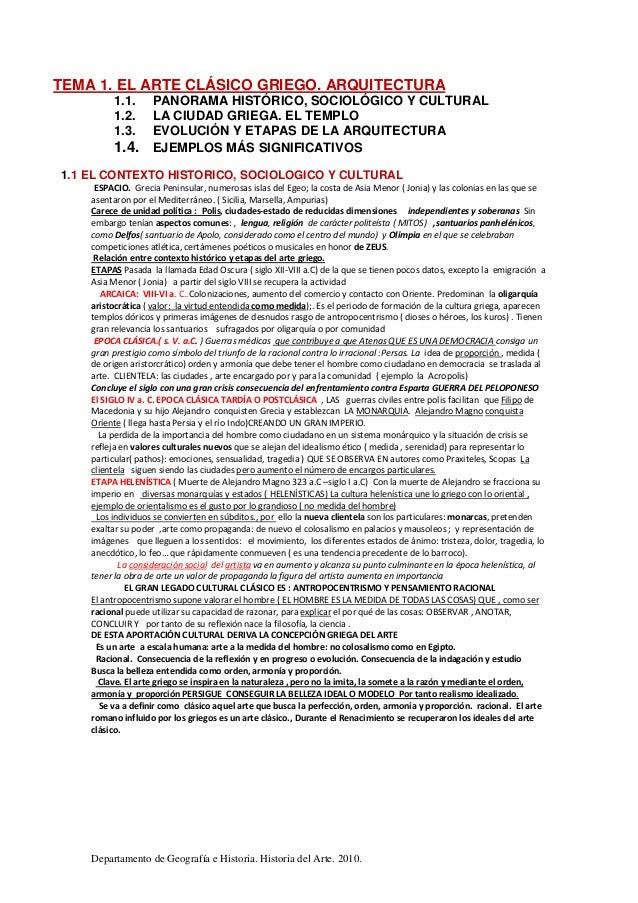 Departamento de Geografía e Historia. Historia del Arte. 2010. TEMA 1. EL ARTE CLÁSICO GRIEGO. ARQUITECTURA 1.1. PANORAMA ...