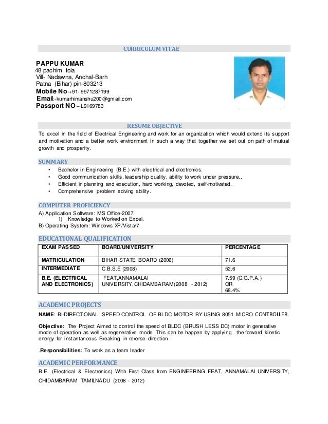 Resume Electrical Amp Electronics Engineering