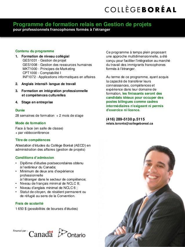 Programme de formation relais en Gestion de projets pour professionnels francophones formés à l'étranger Financé par : Ce ...