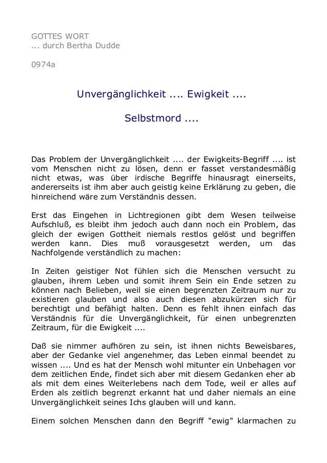 GOTTES WORT ... durch Bertha Dudde 0974a  Unvergänglichkeit .... Ewigkeit .... Selbstmord ....  Das Problem der Unvergängl...