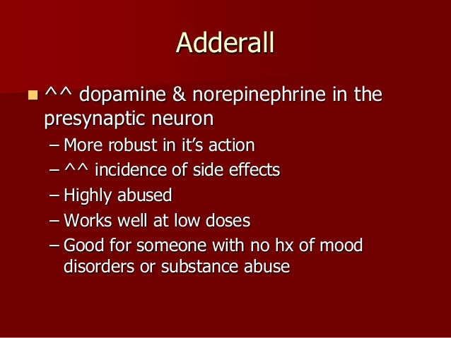 adderall withdrawal dopamine