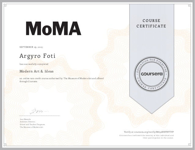 coursera m632knfnvtfp modern art and ideas certificate