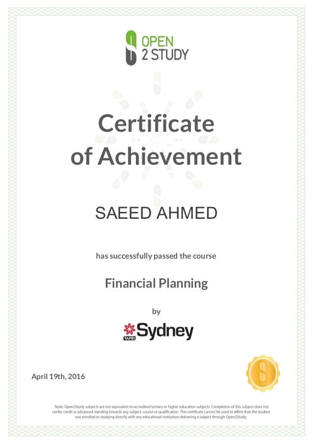Certificate Financial Planning By Sydney Tafe