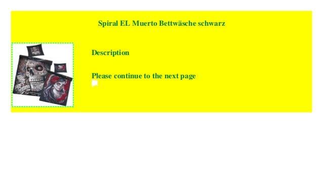 Spiral El Muerto Bettwäsche Schwarz