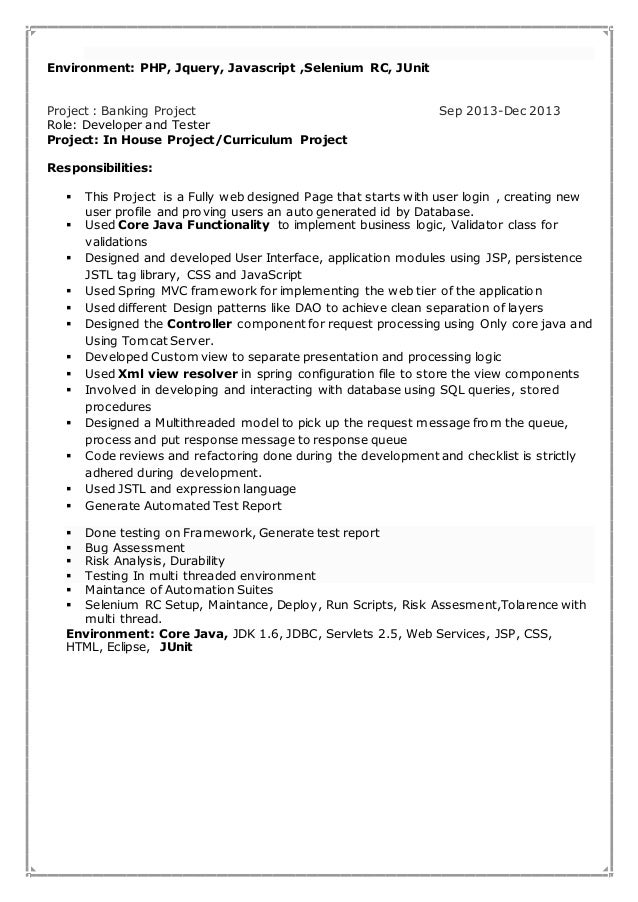 banking project description for resume