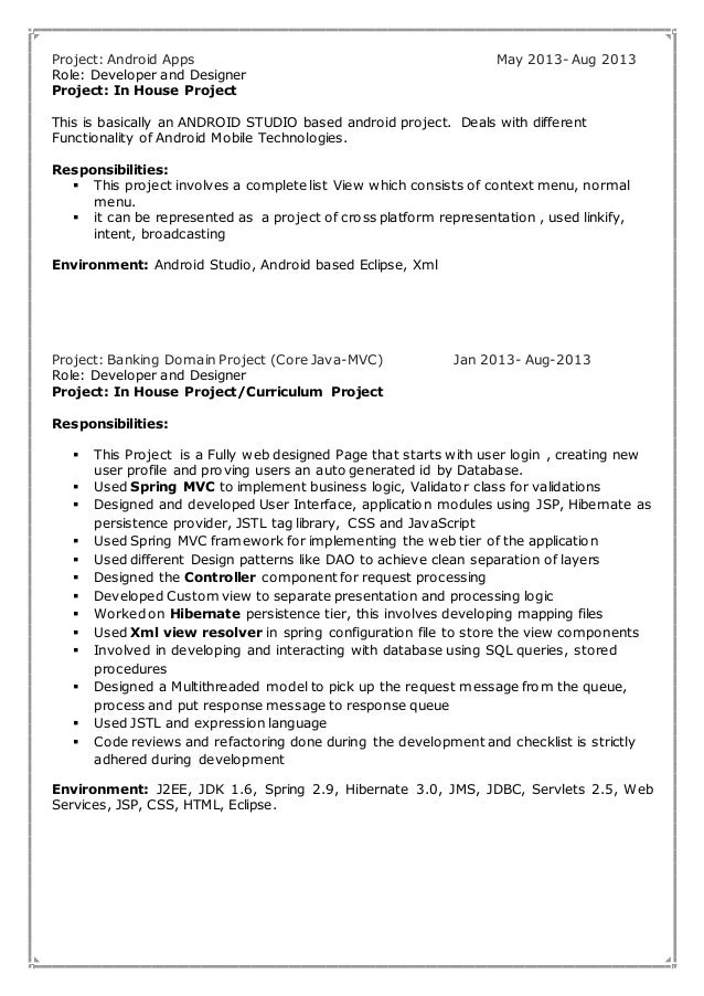 5 project android - Android Developer Resume