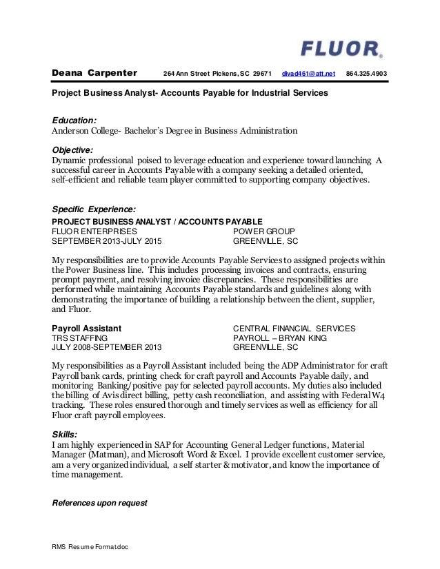 RMS Resume Format.doc Deana Carpenter 264 Ann Street Pickens, SC 29671  Divad461@  Resume For Carpenter