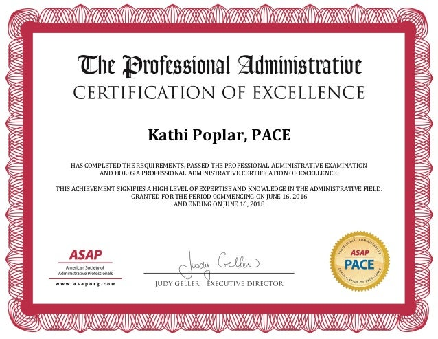 Pace Certificate