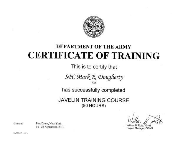 Javelin complition course