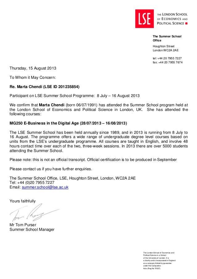 Marta Chendi -attendance letter