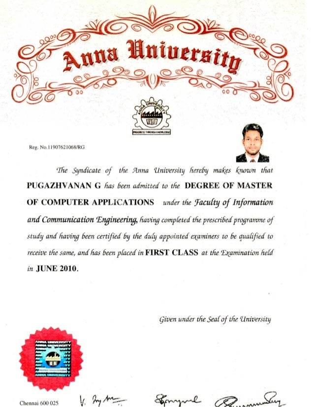 MCA Degree Certificate