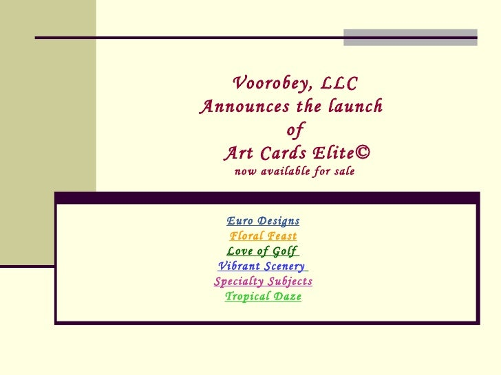 Voorobey, LLC Announces the launch  of  Art Cards Elite© now available for sale Euro Designs Floral Feast Love of Golf  Vi...