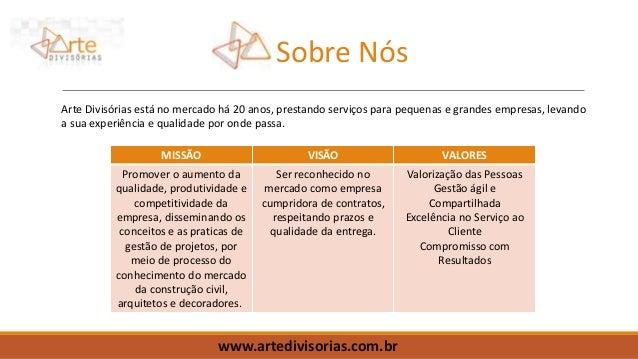 www.artedivisorias.com.br Sobre Nós Arte Divisórias está no mercado há 20 anos, prestando serviços para pequenas e grandes...