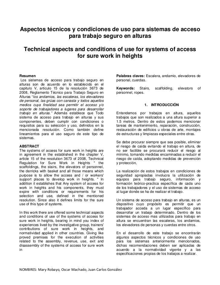 Aspectos técnicos y condiciones de uso para sistemas de acceso                para trabajo seguro en alturas  Technical as...