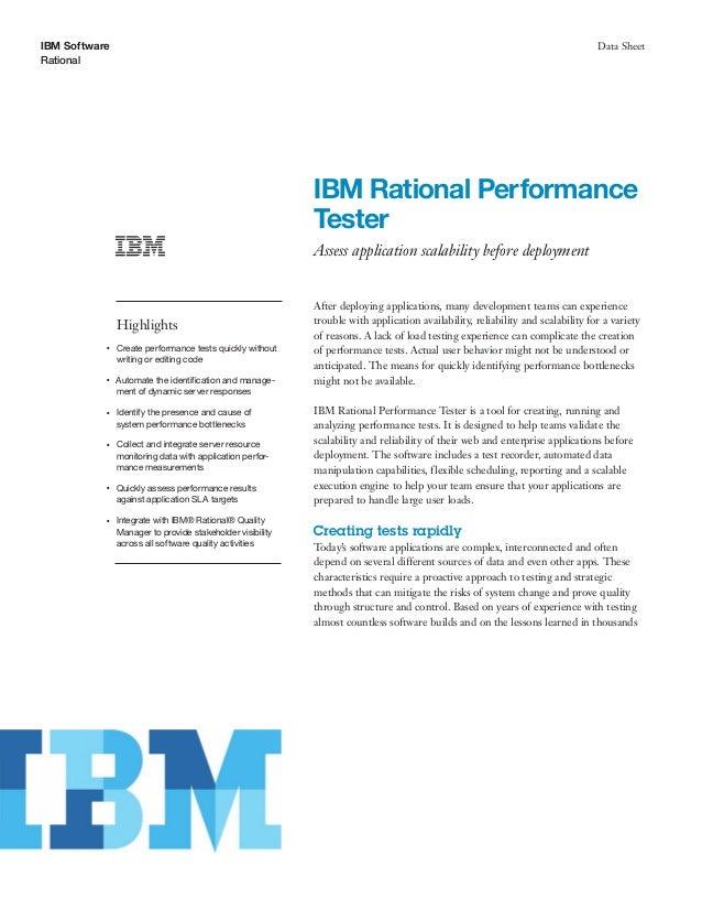 ibm software rational data sheet ibm rational performance tester assess application scalability before deployment highligh