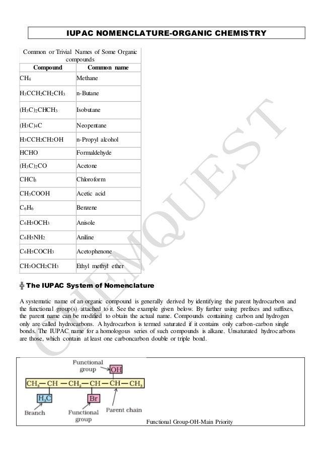 Iupac Nomenclatureorganicfor Jeemain Jeeadvanced Neet