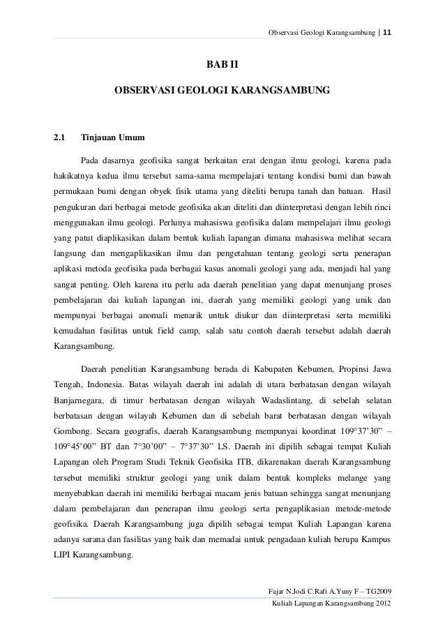 Observasi Geologi Karangsambung | 11                                          BAB II                OBSERVASI GEOLOGI KARA...