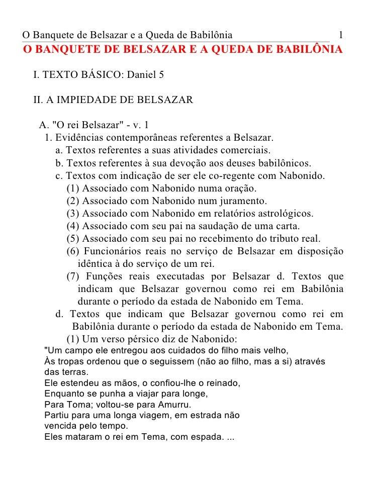 O Banquete de Belsazar e a Queda de Babilônia                            1O BANQUETE DE BELSAZAR E A QUEDA DE BABILÔNIA  I...