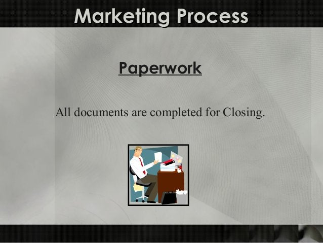 Marketing ProcessMarketing Process Paperwork All documents are completed for Closing.