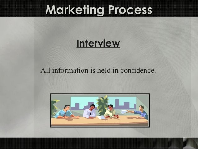 Marketing ProcessMarketing Process Interview All information is held in confidence.