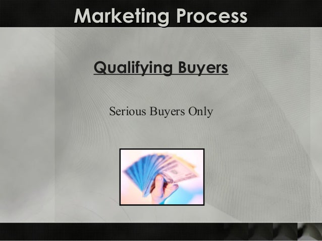 Marketing ProcessMarketing Process Qualifying Buyers Serious Buyers Only