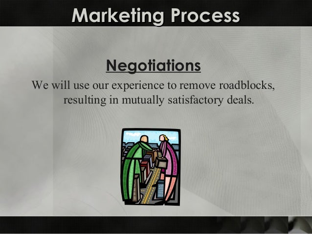 Marketing ProcessMarketing Process Negotiations We will use our experience to remove roadblocks, resulting in mutually sat...